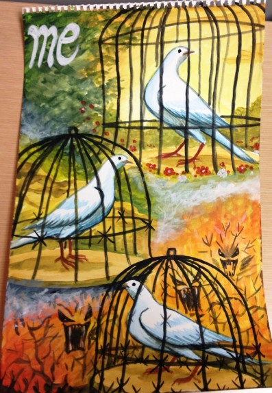 Dove in cage by refugee - 5-2013