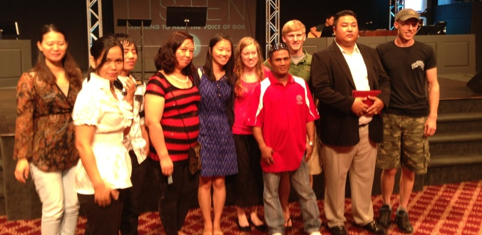 Bethel Burmese congregation poses with CHI students: Jane, Madison and Elias.