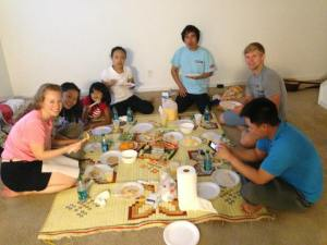 Burmese friends enjoy a meal with CHI students - 2013