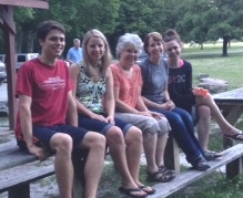 Edwin Warner Park picnic - Caleb, Lindsay, Claire, Olivia - 2013
