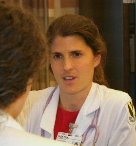 FNP student, Lydia Rice, consults her preceptor.