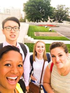 While switching buses in downtown Nashville, the CHI students (Reinie, Kenny, Lauren, and Frances) have a few minutes to explore Tennessee's capitol building.