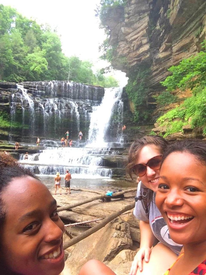 Chelsea Travis, Frances Cobb, and Reinie Thomas pause for a selfie during their trip to Cummins Falls in Cookeville, Tennessee.