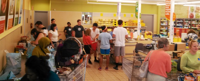 First week shopping trip, the CHI participants find values at the local Aldi store.